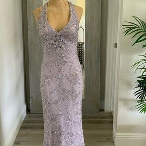Lilac purple sequin gown